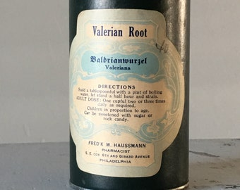 Valerian Root Vintage Apothecary Canister Drugstore Pharmacy
