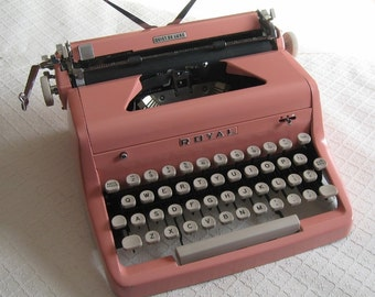 Vintage Pink Royal Typewriter, Quiet De Luxe Model, 1950s