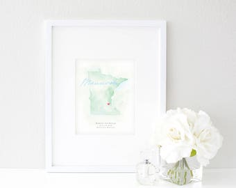 Minnesota Watercolor Map | Destination Map Print | Personalized Watercolor Map | Honeymoon Map | Anniversary Map | Watercolor Wedding Map