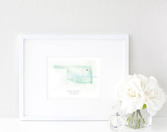 Oklahoma Watercolor Map | Destination Map Print | Personalized Watercolor Map | Honeymoon Map | Anniversary Map | Watercolor Wedding Map