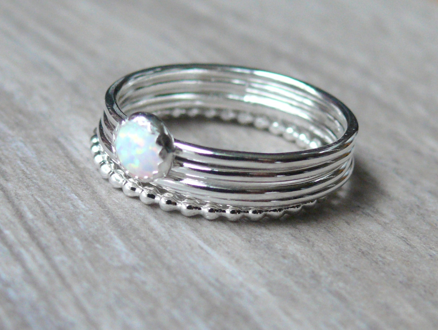 white opal ring in silver opal stackable ring sterling