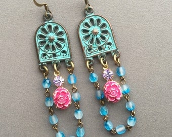 Chandelier Earrings - Bohemian Earrings - Turquoise Earrings - Long Dangle Earrings - Boho Chic Jewelry - Gypsy Earrings - Bohemian Jewelry