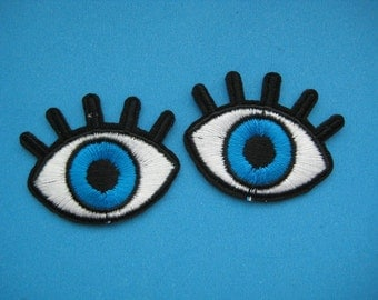 2 Iron-on Embroidered applique HELLO~ 1.6 inch