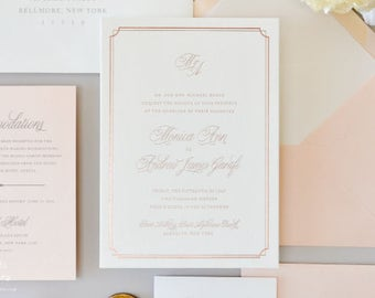 INVITATION SAMPLE The Rosa Suite - Rose Gold Foil Wedding Invitation - Heirloom Wedding Invitations by Sincerely, Jackie