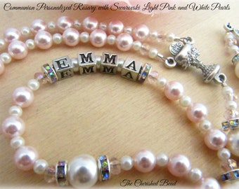Personalized Communion Rosary with Swarovski Light Pink and White Pearls, Rhinestones and Pink Crystals - Heirloom Quality - Name Rosary