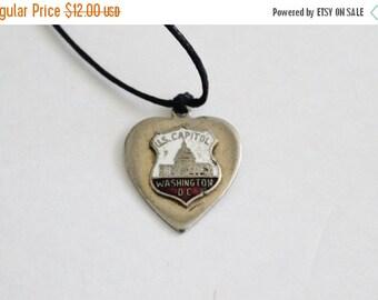 50% half off sale // Vintage 60s US Capitol Washington DC Charm Necklace on Black Waxed Cord