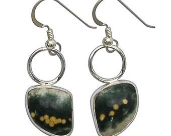 Ocean Jasper and Sterling Silver Dangle Earrings eocje2762