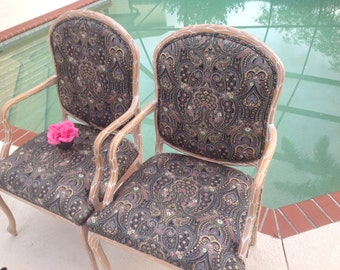 PALM FROND ARM CHAIRs / Pair of Palm Frond Arm Chairs / Hollywood Regency Carved Wood Palmate Chairs / Faux Bois Style at Retro Daisy Girl