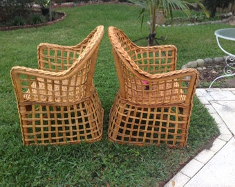 """VINTAGE BAMBOO CHAIRS 30"""" Wide Pair of Bohemian Island Style Bamboo Rattan Chairs / 2 Rattan Chairs at Retro Daisy Girl"""
