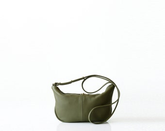 Pebbled leather sling bag OPELLE Micro Roberta Sling mini hobo handbag OLIVE