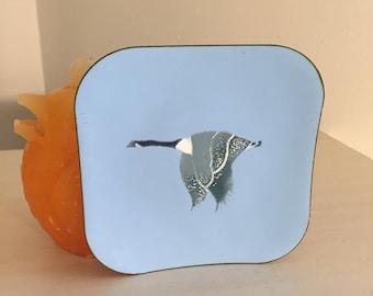 COPPER ENAMEL B. E. Eren Canada Geese Enamel on Copper Decorative Plate, Goose, Blue Goose, Flying Goose, Flying Geese at Modern Logic