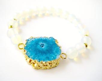 Blue Solar Quartz Bracelet with Natural Opal Beads