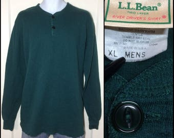 1980's LL Bean river drivers shirt 2-ply double layer soft cotton wool henley neck Long Johns Undershirt size XL dark green turquoise USA