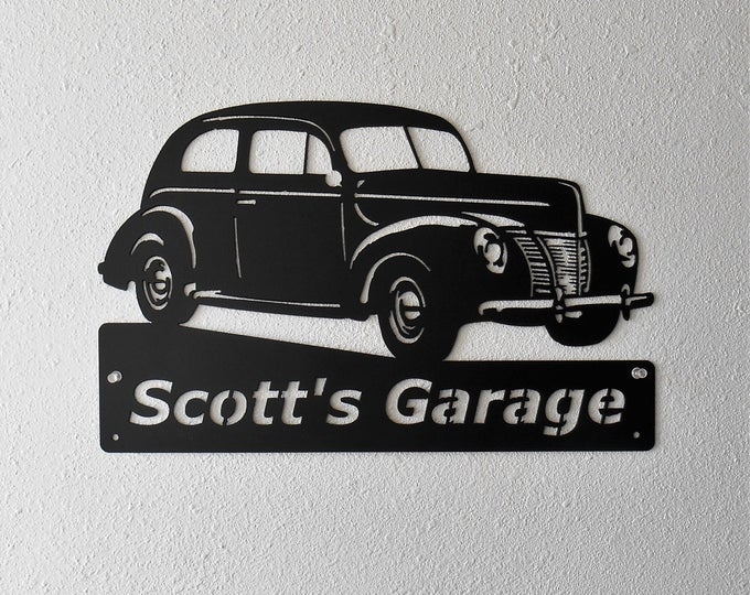 1940 Ford Tudor Sedan, Personalized Metal Sign- Man Cave- Classic - Hot Rod -Garage Sign -Satin Black