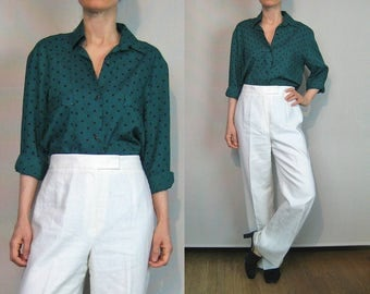80s Polka Dot Wool Blouse / Green + Black Dots Blouse / Green Woven Wool Blouse
