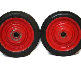 Vintage Wheels  /  Set of Two Rubber Wheels  /  Wagon or Go Cart Wheels  /  Red Wheels for Repurposing  /  Red Rubber Tires