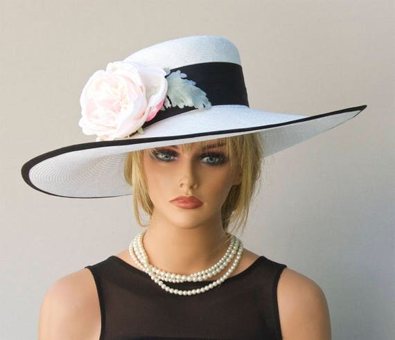 Women's Formal Hat, Ascot Hat Wedding Hat, Derby Hat, Black and White Hat, Race hat, Polo Hat, Event hat, Garden Party Hat Wide Brim Big Hat