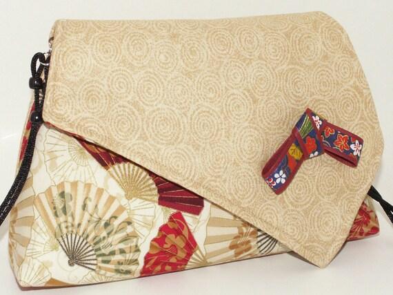 Handmade cotton shoulder bag purse. Red, beige, cream, white, black, green. Fan Artisan Bag by Lella Rae on Etsy