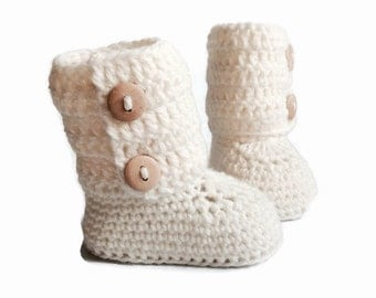 White Baby Booties, Tall Knitted Baby Booties, Knit Baby Booties, Crochet Baby Booties, Merino Wool, Baby Shower Gifts Warm and Woolly Etsy