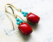 French Lipstick Red, Vintage Deep Opaque Red Smooth Glass Octagon Jewels & Turquoise Swarovski Crystal Earrings by Hollywood Hillbil