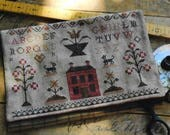 Counted Cross Stitch Pattern, Schoolgirl Sampler, Sewing Bag, Colonial Style Needlework, Primitive Cross Stitch, Stacy Nash, PATTERN ONLY