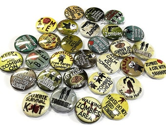 """Zombie Funnies, 1"""", 1.5"""", Button, Zombie Pin, Zombie Gift, Zombie Button, Morbid Gift, Zombie Party Favor, Zombie Pin, Zombie Flatback, Pins"""