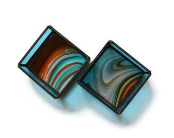 Stained Glass Boxes - Pair in Turquoise and Orange Baroque
