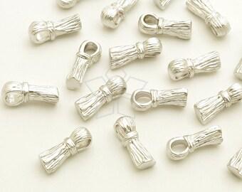 PD-1792-MS / 2 Pcs - Tiny Metal Tassel Pendant, Small Tassel Charm, Matte Silver Plated over Brass / 4mm x 10mm