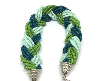 Mint Green Braided Beaded Bracelet