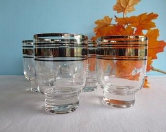 Vintage Silver Band Glasses - Set of 6
