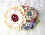 Wedding Sash, Bridal Belt with Colorful Flowers, Unique Wedding Dress Accessory, Floral Dress Pin, Garden Wedding, Sash Pin and Ribbon Belt
