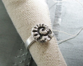 Fiddlehead Ring, Handmade Fine Silver Fiddlehead Fern Ring, Recycled Silver