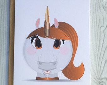 Lil' Unicorn Card, Invitation, Blank Card, Greeting Card, All Occasion Card