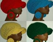 Medium Brimmed Crochet Cap Hat and Earrings Razonda Lee Razondalee Red  Turquoish Yellow Green