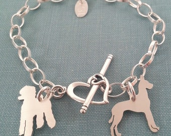 Multiple Pet Charm chain Bracelet, Sterling Silver Personalize Pendant, Breed Silhouette Charm, Rescue Shelter, Dog lover Gift