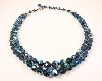 Laguna Glass Beaded Choker Necklace, Vintage Jewelry, Blue Aurora Borealis Crystal Necklace, Vintage Beaded Necklace, Double Strand Necklace