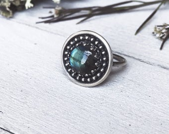 Labradorite Ring - Sterling Silver - Ring Size 7 - Handmade - Statement Ring - By Ashley Goings - Goingsnake Silver -