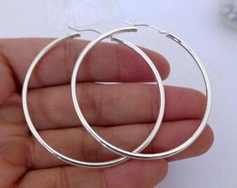 "50mm ( 2"") 2mm tube 925 Sterling Silver EUROWIRE hoop Earring Round Circle Ear Wire Earrings e97"