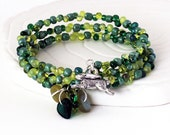 Custom Green Bead Bracelet - Feather Charm, Fringe Style Beads, Czech Glass Leaves, Memory Wire Wrap Bracelet