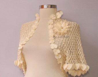 Wedding Bolero, Ivory Shrug, Crochet Shrug, Bridal Lace Shrug, Wedding Cape, Crochet Bolero, Flower Bolero, Boho, Romantic Wedding Shrug
