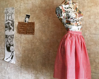 Vintage 50s Red and White Check Cotton Skirt small