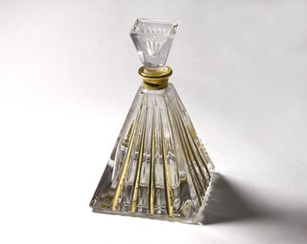 Vintage Lead Crystal Perfume Bottle, Royal Gallery, Pyramid Perfume Bottle - circa 1980's