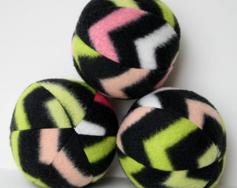 Dog Ball Toy-Black Pink Green Chevron Fleece Squeak Ball toy,dog chew toy,squeaker toy,fleece dog toy,stuffed ball,fleece dog ball,Pug toy