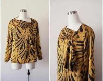 on SALE. 1980s Designer Silk blouse, Mustard and Black Silk Top, Avant Garde Asymmetric Blouse by Jean for Joseph Le Bon size 12  L