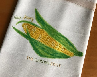 Corn in the Cob Kitchen Towel Farm Stand Garden State New Jersey Cotton with State Option