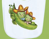Cowboy Cowgirl Baby Bib, Two Peas in a pod, Boutique Quality, Baby Shower Gift, ANY DESIGN Personalized Free by ChiTownBoutique
