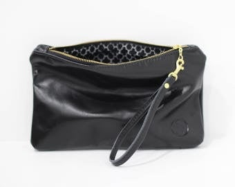 Leather clutch purse with strap, clutch bag, clutch with wristlet strap, Black clutch, bridesmaid gift, gift for her, leather purse