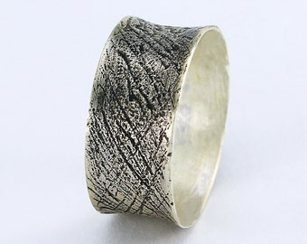 Size 6.75 Ring Handcrafted Sterling Silver Textured  Wide Band Patina Surface Artisan Minimalist Contemporary Jewelry Design 1791628011216