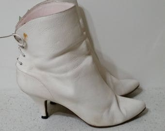 "1980's Leather Ankle Boots by L. J. Simone, Ties at back, 2.5""  Heel, White, 8.5M, #63753"