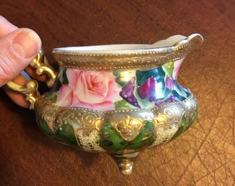 Antique Nippon Footed Creamer, Hand Painted Ornate Rose and Green Scrolls with Gold Leaf, Maple Leaf Back Mark